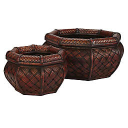 Nearly Natural 6.5-7.5-Inch Rounded Octagonal Decorative Planters (Set of 2)