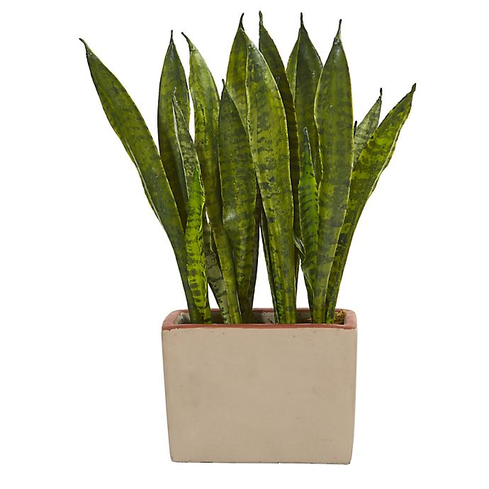 Alternate image 1 for Nearly Natural 18-Inch Artificial Sansevieria with Ceramic Planter