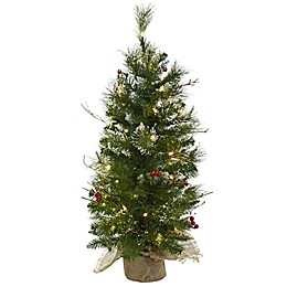 Nearly Natural 3-Foot Pre-Lit Artificial Christmas Tree with Berries in Burlap
