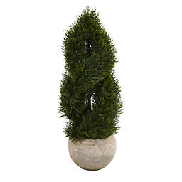 Nearly Natural 3.5-Foot Artificial Double-Spiral Pond Cypress Tree in Bowl Planter