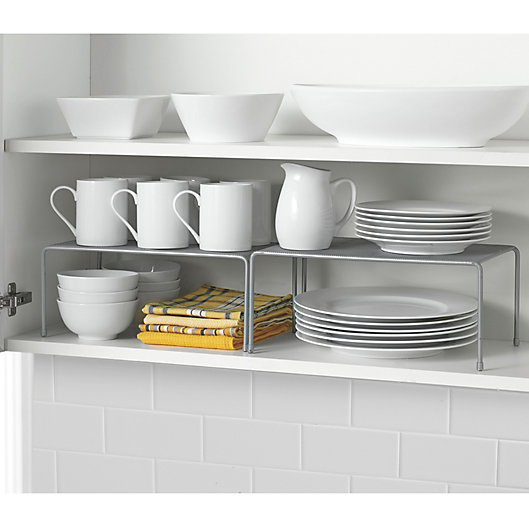 Alternate image 1 for ORG Metal Mesh Expandable Cabinet Shelves in Metallic Chrome (Set of 2)