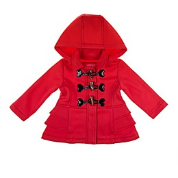 Pink Platinum Toggle Fleece Coat in Red