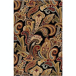 Surya Aurora Floral Handcrafted Rug in Black/Brown