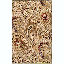 Surya Aurora Floral Hand-Tufted 5' x 8' Area Rug in Neutral/Brown