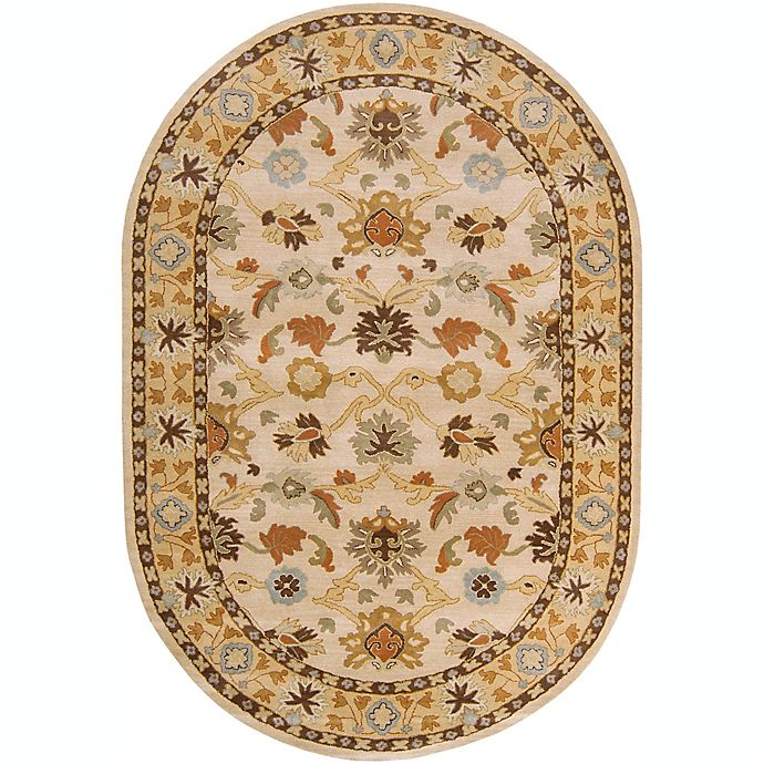 Alternate image 1 for Surya Caesar Classic Floral 6' x 9' Oval Rug in Khaki/Tan