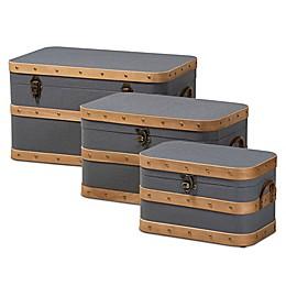 Baxton Studio™ Herve 3-Piece Storage Trunk Set in Grey/Oak Brown