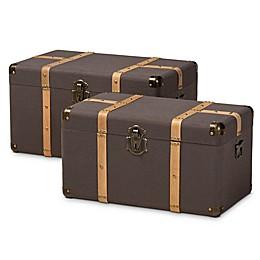 Baxton Studio™ Deniel 2-Piece Storage Trunk Set in Dark Brown