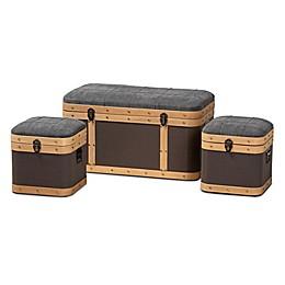Baxton Studio™ Cade 3-Piece Storage Ottoman Trunk Set in Grey and Brown