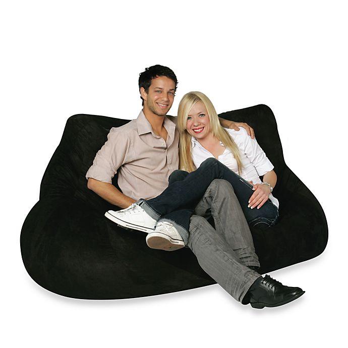 Two Seater Black Plush Bean Bag Chair Cover Bed Bath