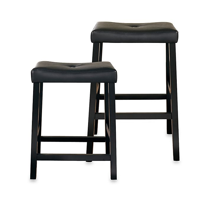 Crosley Upholstered Saddle Seat Bar Stools In Black (Set
