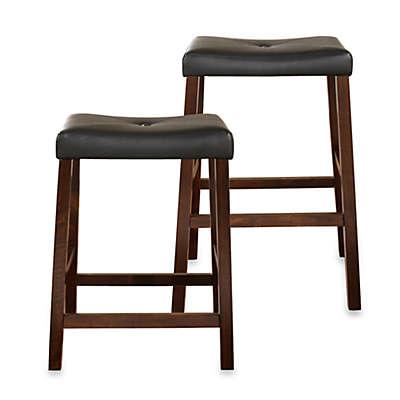 Crosley Upholstered Saddle Seat Bar Stools in Vintage Mahogany (Set of 2)