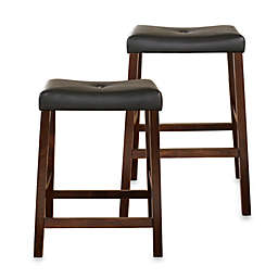 Crosley Upholstered Saddle Seat Bar Stools in Vintage Mahogany (Set of 2)