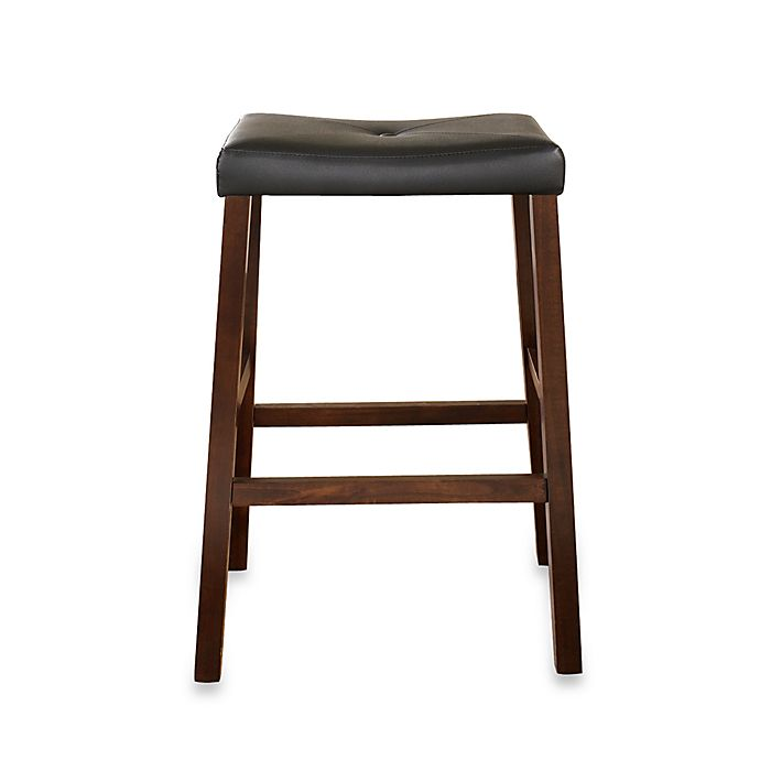 Alternate image 1 for Crosley Upholstered 29-Inch Saddle Seat Bar Stools in Vintage Mahogany (Set of 2)