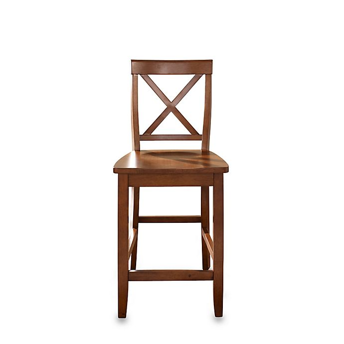 Crosley X Back 24 Inch Bar Stool In Cherry Set Of 2 Bed Bath