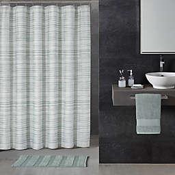 72-Inch x 72-Inch ALFIO Ticking Stripe Shower Curtain in Seafoam Blue