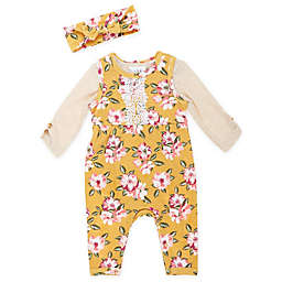 Nicole Miller NY 2-Piece Floral Overall and Headband Set in Mustard