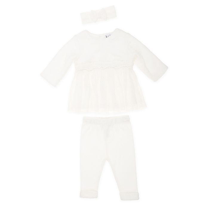 Alternate image 1 for Nicole Miller NY Size 6-9M 2-Piece Faux Fur Tulle Top and Legging Set in Ivory