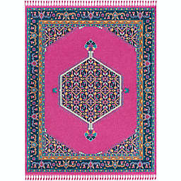 Surya Love Classic 7'10 x 10' Area Rug in Bright Pink/Navy