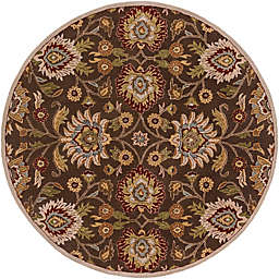 Surya Caesar 6' Round Hand Tufted Area Rug in Brown/Red