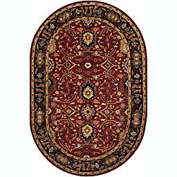 Surya Athena Floral Oval Rug in Green/Yellow
