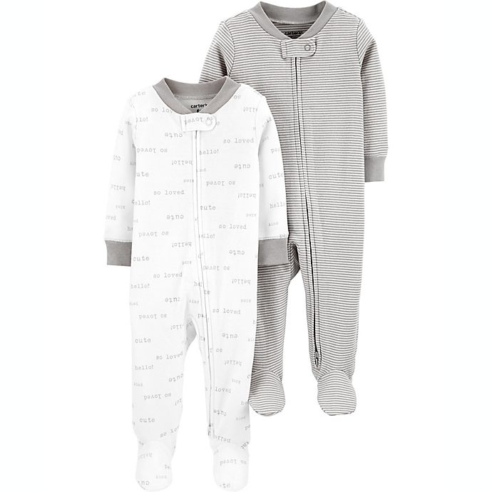 Alternate image 1 for carter's® Preemie 2-Pack Sleep and Play Pajamas in Grey/White