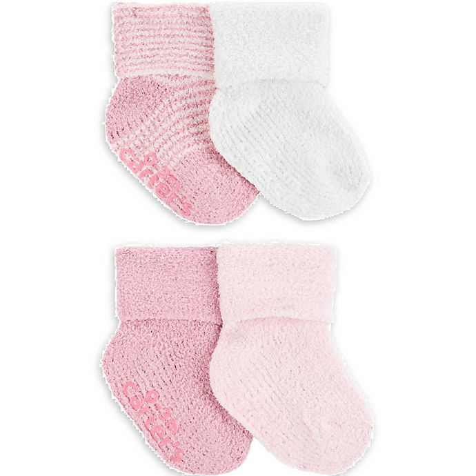 Alternate image 1 for carter's® Newborn 2-Pack Chenille Sock Booties in Pink