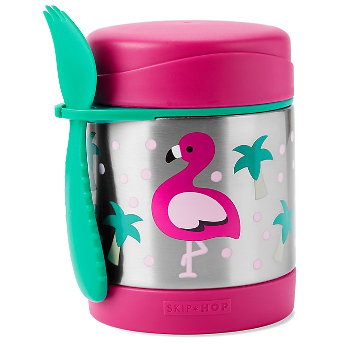 Alternate image 1 for SKIP*HOP® Zoo 2-Piece Flamingo Jar and Spork Set in Pink