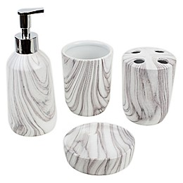 Ceramic 4-Piece Bath Ensemble Set in White