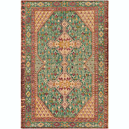 Surya Shadi Global 2' x 3' Hand-Woven Area Rug in Teal/Khaki