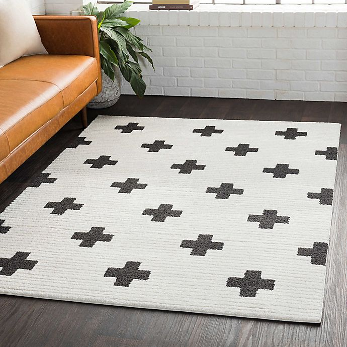 Alternate image 1 for Surya Moroccan Cross Shag Rug in Black/White