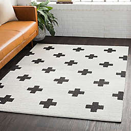 Surya Moroccan Cross Shag Rug in Black/White