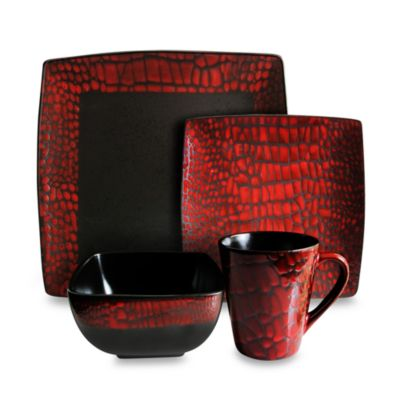 American Atelier 16 Piece Boa Red Dinnerware Set Bed