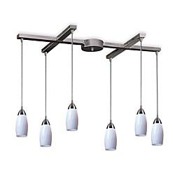 ELK Lighting Milan 6-Light Pendant with Simply White Glass