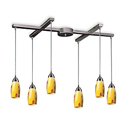 ELK Lighting Milan 6-Light Pendant with Yellow Blaze Glass