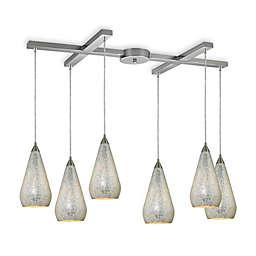 ELK Lighting Curvalo 6-Light Pendant with Silver Crackle
