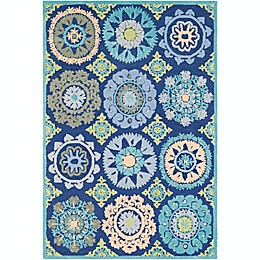 Surya Technicolor Global Geometric Bursts Rug in Dark Blue