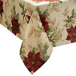 Holiday Festive Poinsettia Tablecloth
