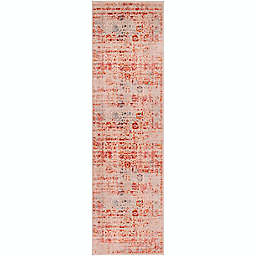 "Surya Ephesians Floral 9' x 2' 7"" Runner in Rose/Cream"