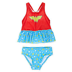 Wonder Woman 2-Piece Tankini Swimsuit in Red/Blue