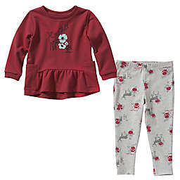 Carhartt® Size 0-3M 2-Piece Floral Deer Tunic and Legging Set in Red/Grey