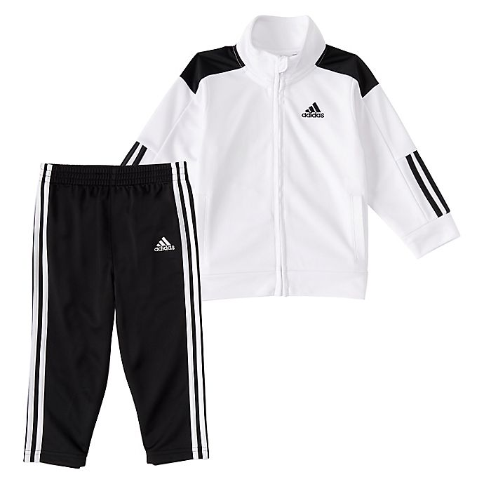 Alternate image 1 for adidas® Boys Tricot Tracksuit Set in Black/White