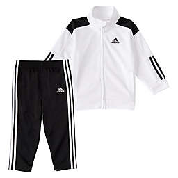 adidas® Boys Tricot Tracksuit Set in Black/White