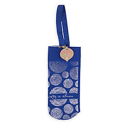 """Let It Snow"" Holiday Wine Tote Bag in Blue"