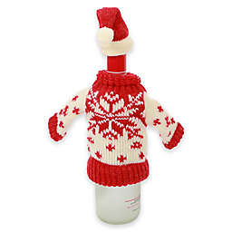 Snowflake Knit Hat and Sweater Bottle Topper