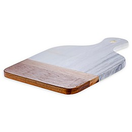 Denmark Artisanal Paddle Cutting Board in Marble/Wood with Handle