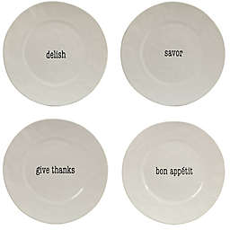 Certified International Just Words Dinner Plates in White (Set of 4)