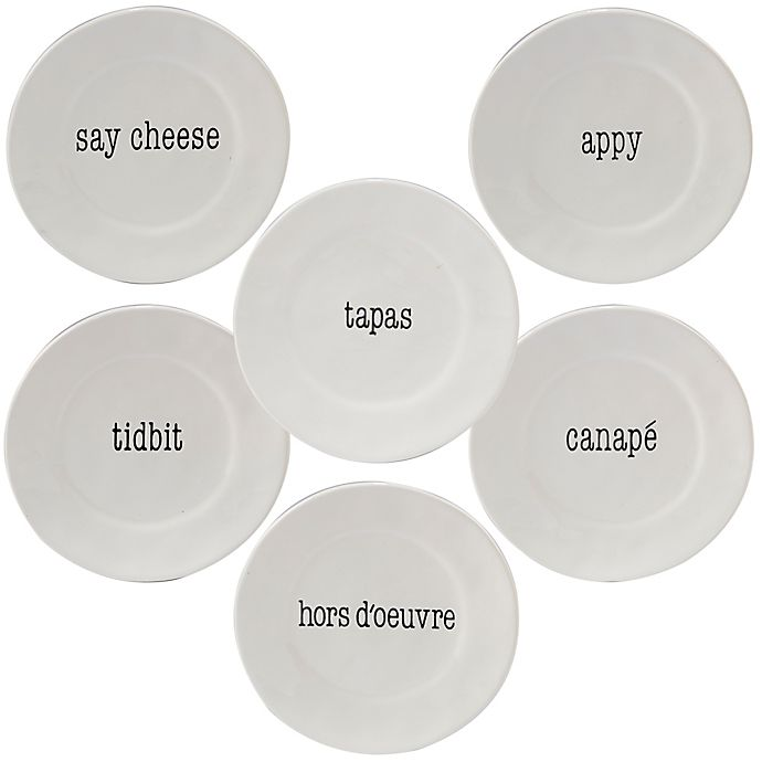 Alternate image 1 for Certified International Just Words Canape Plates in White (Set of 4)