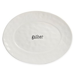 Certified International Just Words Oval Serving Platter in White