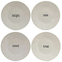 Certified International Just Words Dessert Plates in White (Set of 4)