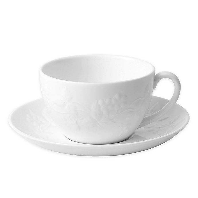 Wedgwood Wild Strawberry White Teacup And Saucer